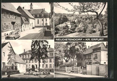 tolle AK Neudietendorf, Bahnhofstraße, Zinzendorfhaus, Gasthaus Zur Linde