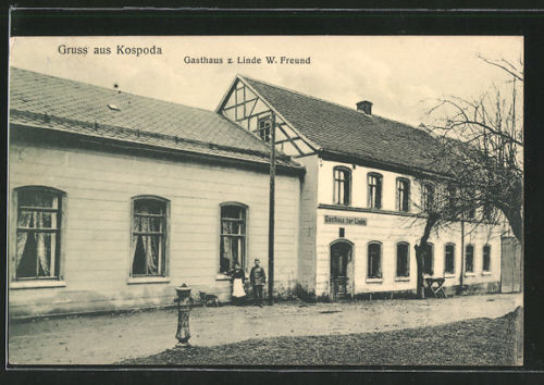 schöne AK Kospoda, Gasthaus zur Linde 1917