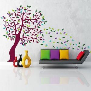 Wandtattoo Baum Linde tree mit bunten Blättern 774