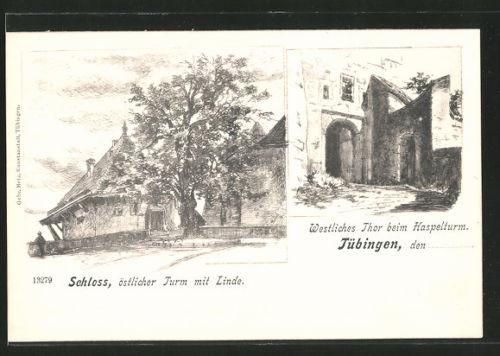 AK Tübingen, Schloß, östlicher Turm mit Linde, Westliches Thor beim Haspelturm