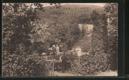 alte AK Steinbergen, Garten vom Hotel zur Linde 1912