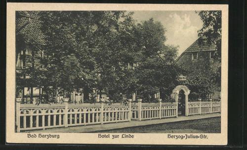 alte AK Bad Harzburg, Hotel zur Linde in der Herzog-Julius-Straße