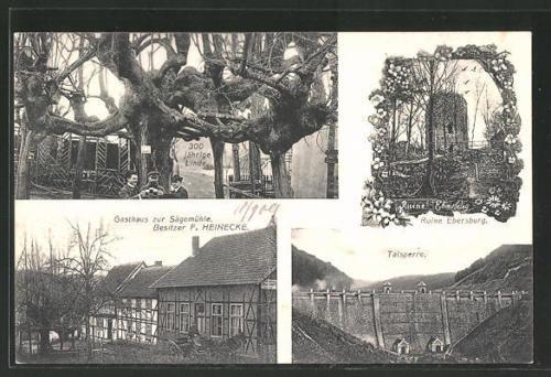 AK Hermannsacker, Gasthaus zur Sägemühle, Talsperre, 300 jähr. Linde, Ruine Ebe