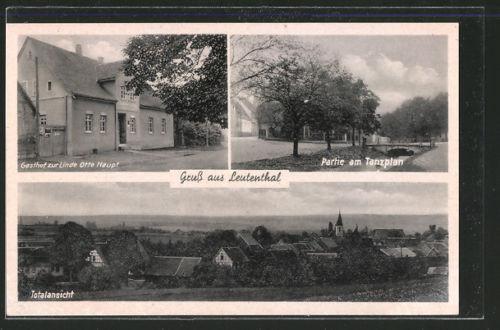 AK Leutenthal, Gasthof zur Linde Otto Haupt, Partie am Tanzplan, Totalansicht