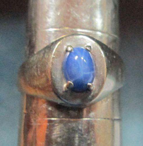 Men's Mid Century Modern Linde Star Sapphire 10K White Gold Ring Size 8 1/2