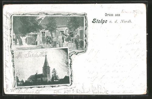 tolle AK Stolpe, Gasthaus zur krummen Linde, Kirche 1900