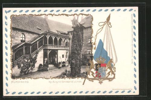 Passepartout-Lithographie Nürnberg, Kgl. Burg mit Schlosshof und Linde, Wappen