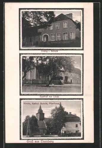 schöne AK Eisenberg, Evang. I. Schule, Gasthof zur Linde, Pfarrhaus