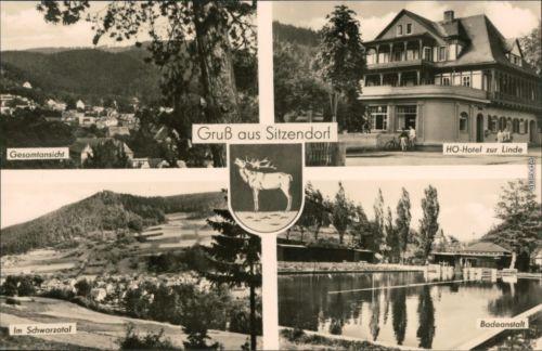 Sitzendorf Gesamtansicht, HO-Hotel zur Linde, Schwarzatal, Badeanstalt 1970
