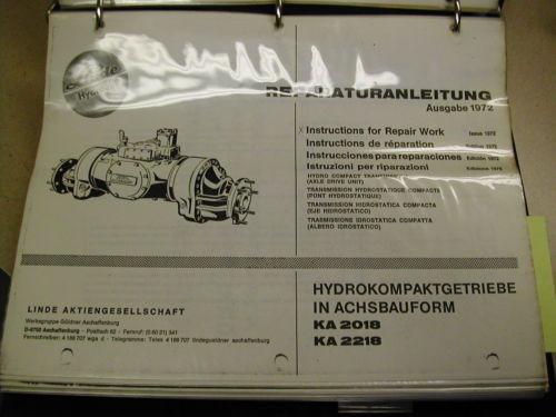 Linde Baker KA2018 2218 HYDROSTATIC AXLE SERVICE REPAIR MANUAL FORKLIFT TRUCK