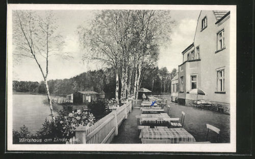 schöne AK Linde, Wirtshaus am Linde-See 1958