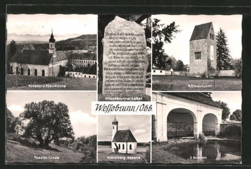 AK Wessobrunn, Kloster und Pfarrkirche, Tassilo-Linde, Kreuzberg Kapelle, 3 Que