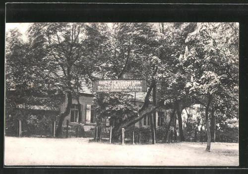 schöne AK Stolpe, Gasthof Zur krummen Linde mit Gartenrestaurant 1925