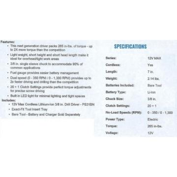 "*NEW* Bosch PS31 12V 2 Speed Max 3/8"" Drill Driver Cordless Li-Ion"