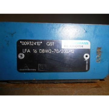 MANNESMANN Australia Italy REXROTH LFA 16 DBW2-70/200/12 HYDRAULIC VALVE, USED