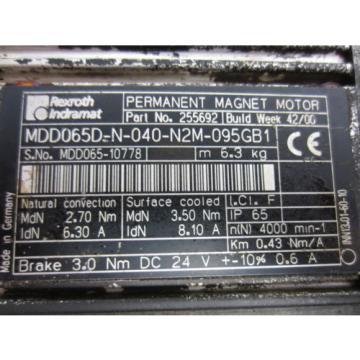 Rexroth Canada Mexico Bosch Group 255692 MDD065D-N-040-N2M-095GB1 Motor - Used
