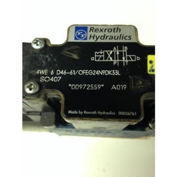 REXROTH India Canada HYDRAULICS 4WE6D46-61/OFEG24N9DK33L SO407 SOLENOID VALVE USED U4