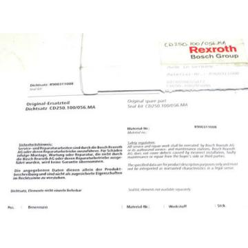 NIB Dutch Australia REXROTH BOSCH R900311008 SEAL KIT CD250.100/056.MA