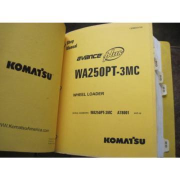 Pair of OEM Komatsu WA250PT-3MC PARTS and SHOP REPAIR SERVICE Manual Books