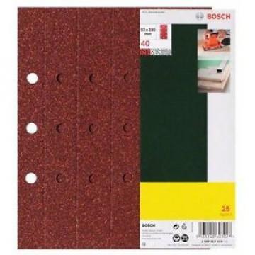 Bosch 2607017108 25 Fogli Abrasivi Orbitale, Grana 240, 93 x 230 mm, Fori