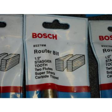 """LOT OF 10 BOSCH 1/2"""" STRAIGHT STAGGER TOOTH ROUTER BITS, #85278M, CARBIDE TIPPED"""