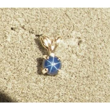 VINTAGE LINDE LINDY PETITE 5MM RD CF BLUE STAR SAPPHIRE CREATED PENDANT NOCHN SS