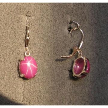 LINDE LINDY 10X8MM 5+ CTW PINK STAR RUBY CREATED SAPPHIRE S/S LEVERBACK EARRINGS