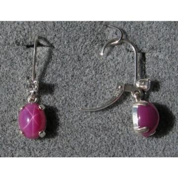 VINTAGE SIGNED LINDE LINDY 9x7MM PINK STAR RUBY CREATED SAPPHIRE LB EARRINGS S/S