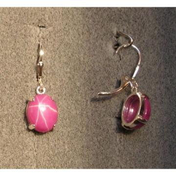 LINDE LINDY 12X10MM 9+  CTW PINK STAR RUBY CREATED SAPPHIR SS LEVERBACK EARRINGS