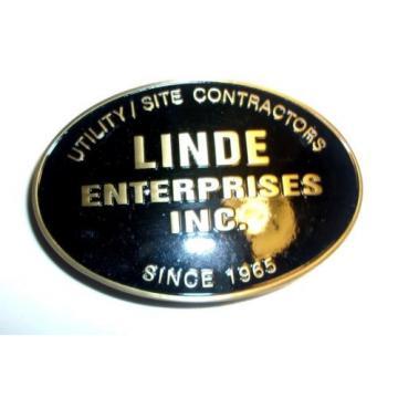 LINDE ENTERPRISES BELTBUCKLE BLACK W/ UTILITY / SITE CONTRACTORS SINCE 1965