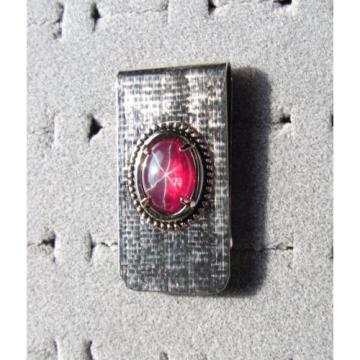 HUGE 18X13MM LINDE LINDY TRANS RED STAR RUBY CREATED SAPPHIRE 2ND NPM MONEY CLIP