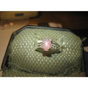 AZALEA PINK 8X6MM LINDE STAR SAPPHIRE RING .925 STERLING SILVER SIZE 6.5