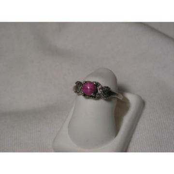 ...Sterling Silver,12 Accent Diamonds,Linde/Lindy Ruby Star Sapphire Ring,Sz 5.5