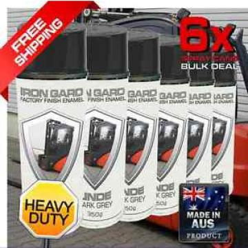 6x IRON GARD Spray Paint LINDE GREY Forklift Container Pallet Forks Tonne Rack T