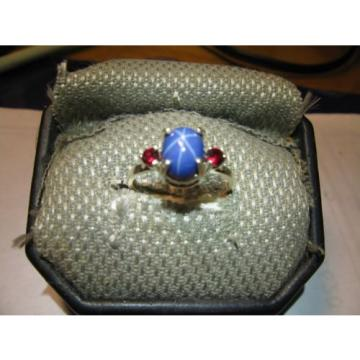 BAHAMA BLUE LINDE STAR SAPPHIRE RING/ ACCENTS STERLING SILVER SIZE 675