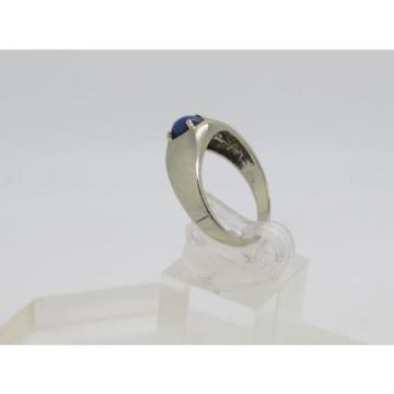 Solid 10k White Gold Oval Blue Sapphire Lindi Lindy Linde Star Ring Size 8.75