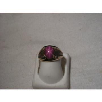 ..Vintage Man's/Men's 10K Gold Filled,Linde/Lindy Ruby Star Sapphire Ring,Size 7