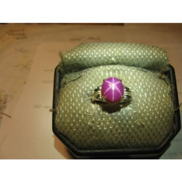 11X9MM RED LINDE STAR SAPPHIRE RING 925 STERLING SILVER SIZE 4.5