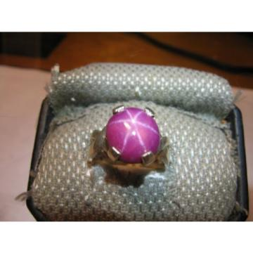 BIG 12MM CLARET RED LINDE STAR SAPPHIRE RING .925 STERLING SILVER SIZE 7.