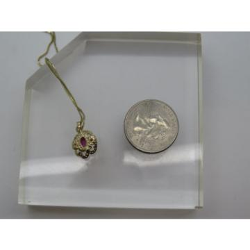 Solid 14k Yellow Gold Pink Ruby Lindi Linde Lindy Star Diamond Pendant Necklace