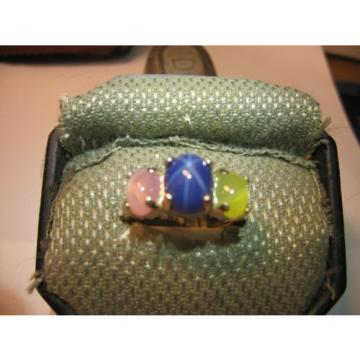 3 STONE 3 COLOR LINDE STAR SAPPHIRE RING .925 STERLING SILVER SIZE 7.5