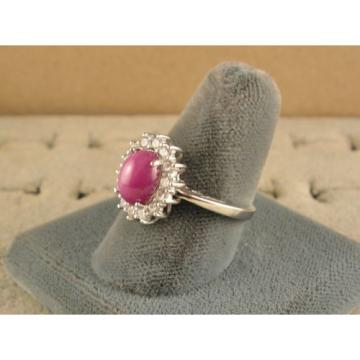 VINTAGE UNSIGN LINDE LINDY PINK STAR RUBY CREATED SAPPHIRE HALO RING RD PL .925