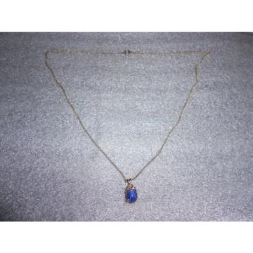 14K Gold Filled Linde Star Saphire 3 Diamond Accent Necklace