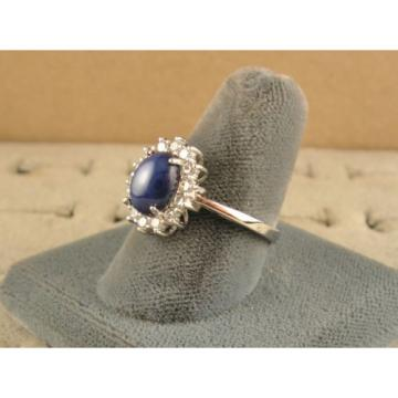VINTAGE UNSIGN LINDE LINDY CF BLUE STAR SAPPHIRE CREATED HALO RING RD PL .925 SS