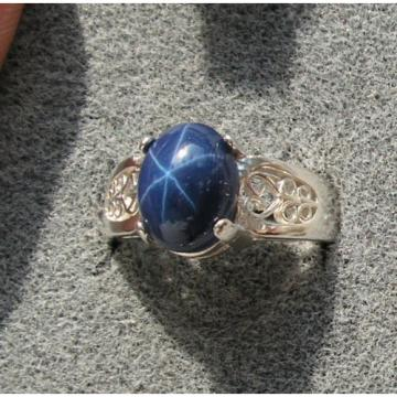 10x8mm 3+ CT LINDE LINDY CORNFLOWER BLUE STAR SAPPHIRE CREATED 2nd RING SS