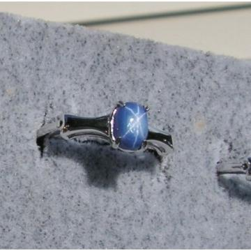 7X5MM MODERN PROD LINDE LINDY BLUE STAR SAPPHIRE CREATED 2ND RD PLT .925 SS RING