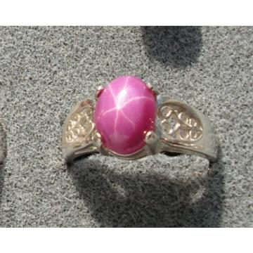 10x8mm 3+ CT LINDE LINDY PINK STAR SAPPHIRE CREATED RUBY 2ND RING .925 SS