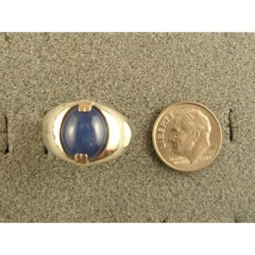MEN'S 12x10mm 5+ CT LINDE LINDY CRNFLR BLUE STAR SAPPHIRE CREATED SECOND RING SS