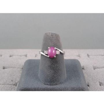 VINTAGE LINDE LINDY PINK STAR RUBY CREATED SAPPHIRE RING RHODIUM PLATE .925 S/S