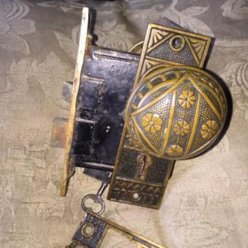 Victorian Eastlake Solid Bronze Complete Lockset, F.C.Linde Co. Design